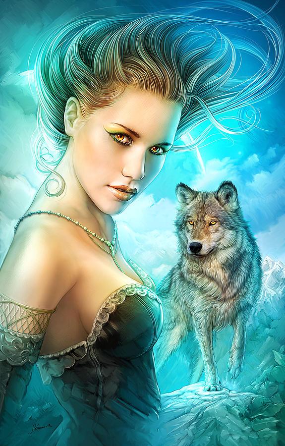 Full Moon Digital Art - Lady Wolf by Shannon Maer