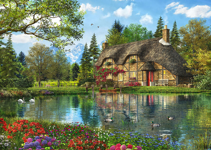 Lake View Cottage Painting By Dominic Davison