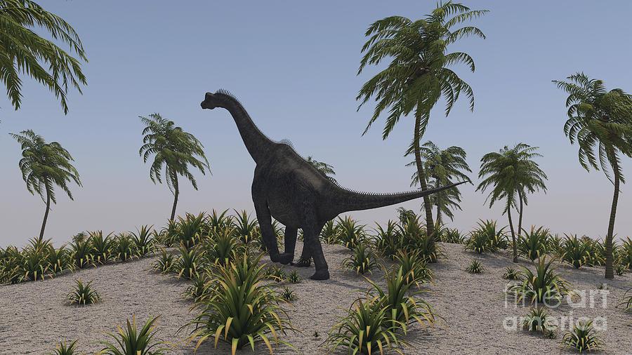 Large Brachiosaurus Roaming Digital Art