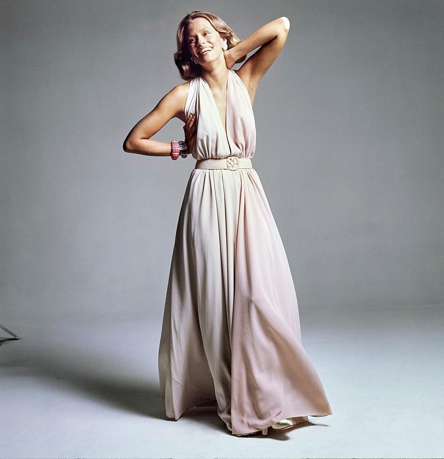 Accessories Photograph - Lauren Hutton Wearing A Galanos Dress by Bert Stern