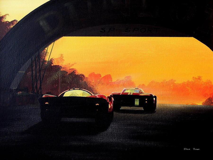 Le Mans Sunset Painting by Steve Jones
