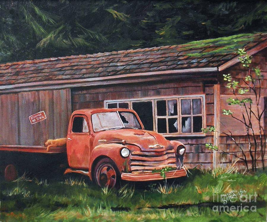 Chevy Truck Painting - Left Behind by Suzanne Schaefer
