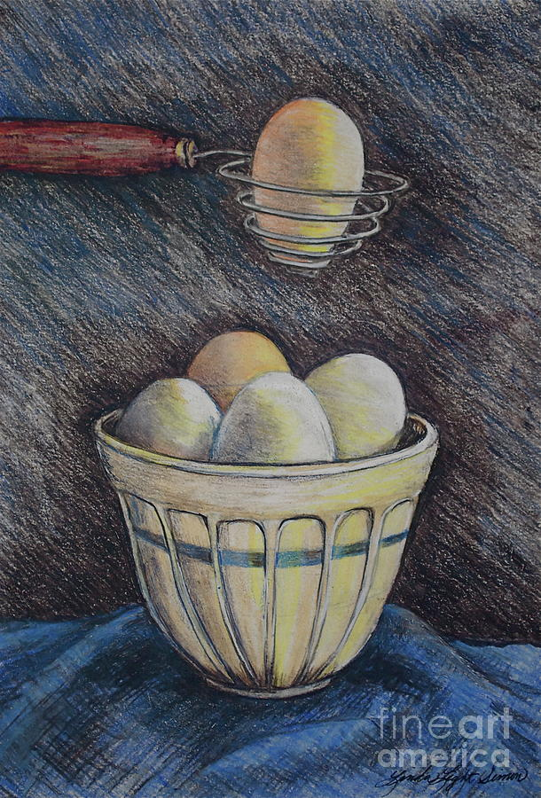 Bowl Drawing - Lets Cook by Linda Simon