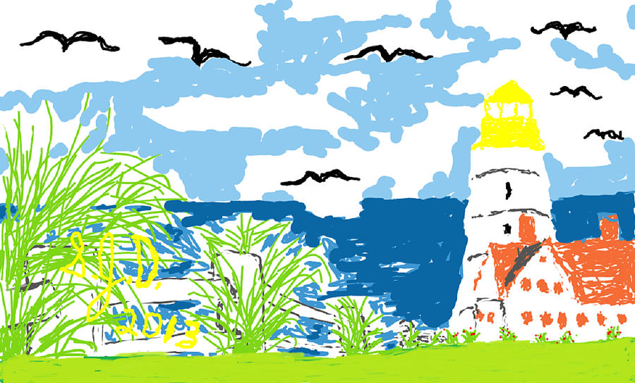 Lighthouse By The Sea Digital Art by Joe Dillon