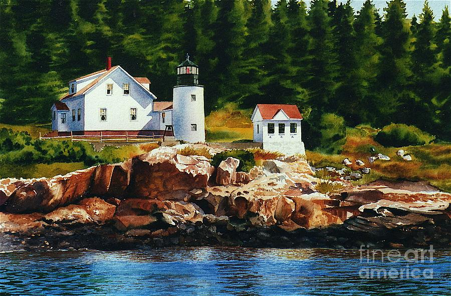 Landscape Painting - Lighthouse Solitude by Karol Wyckoff