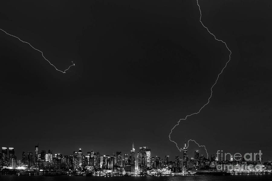 The Big Apple Photograph - Lightning Strikes The Big Apple by Jerry Fornarotto