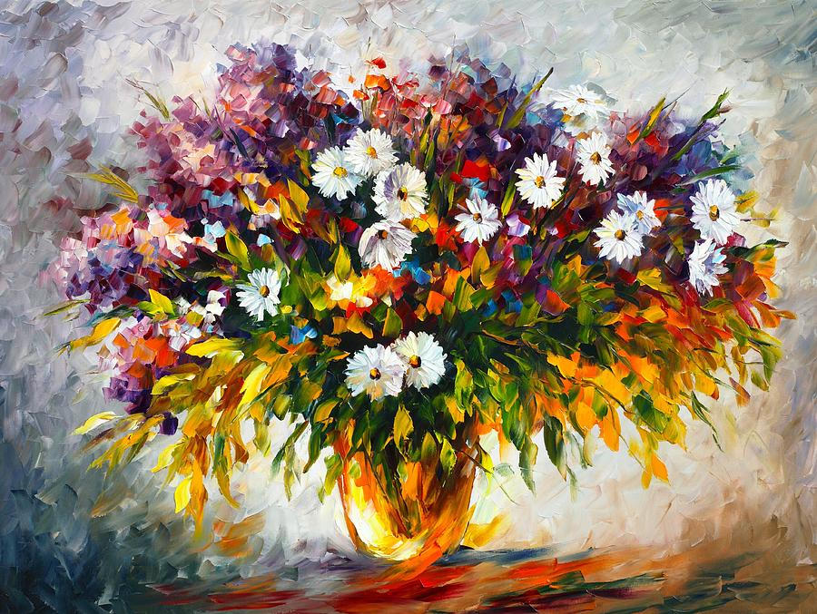 Afremov Painting - Lilac And Camomiles by Leonid Afremov