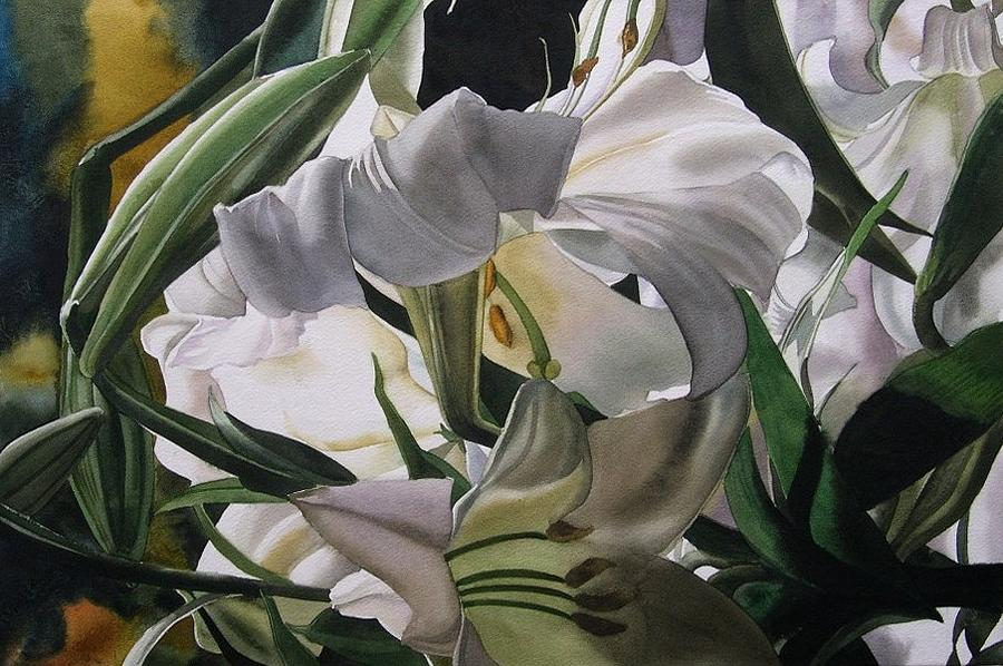 White Painting - Lily In White by Alfred Ng