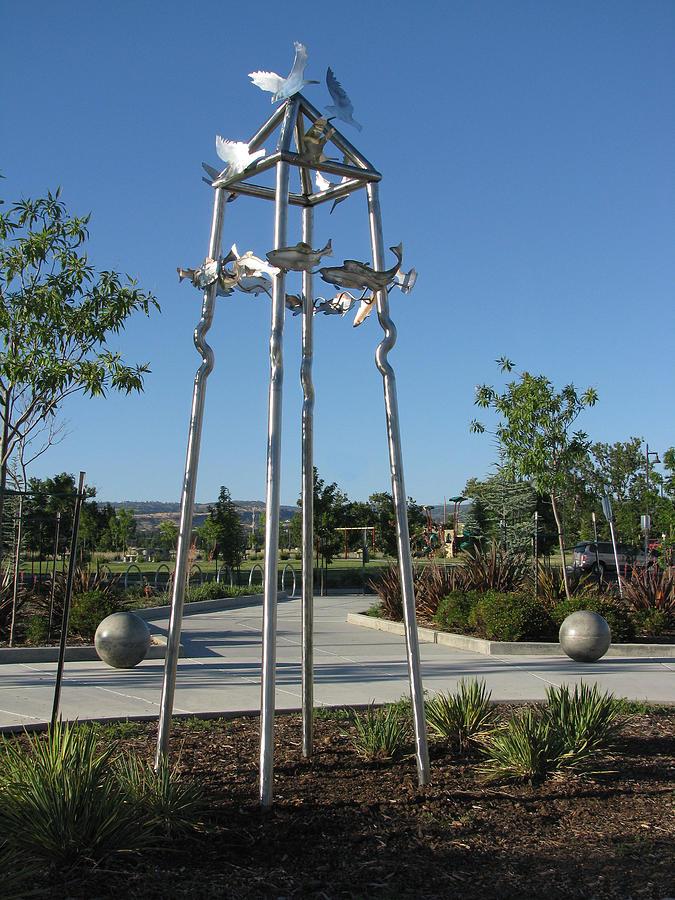 Stainless Steel Sculpture - Little Chico Creek Sculpture by Peter Piatt