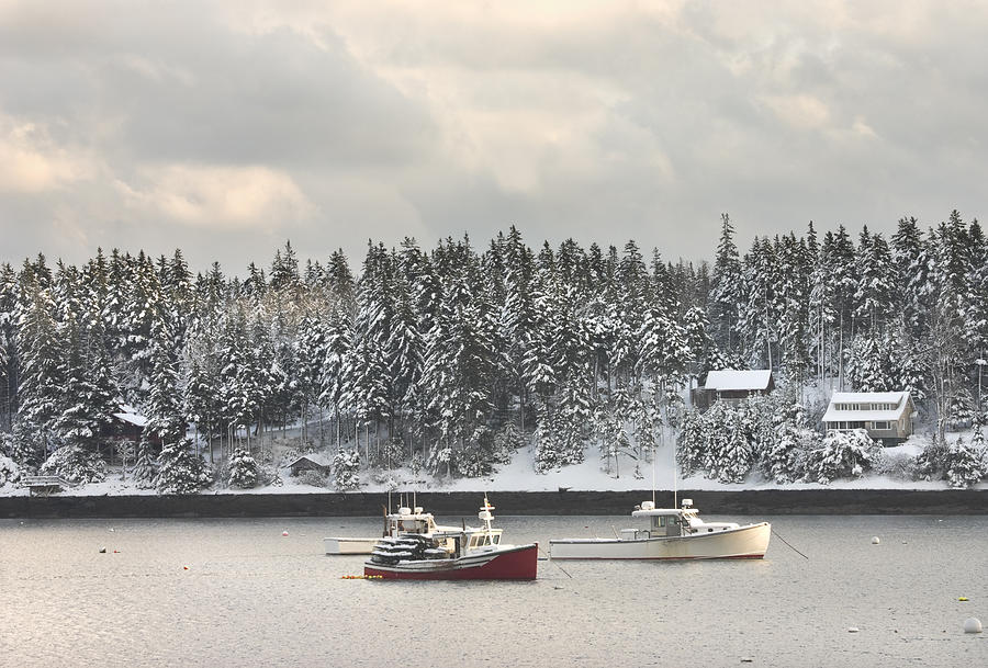 Tenants Harbor Photograph - Lobster Boats After Snowstorm In Tenants Harbor Maine by Keith Webber Jr