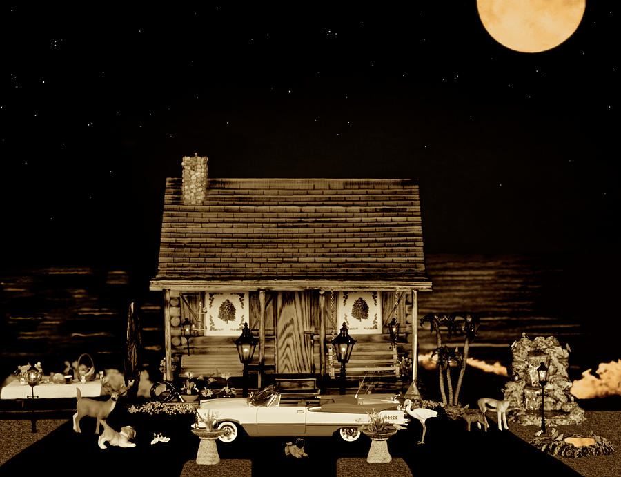 Miniature Log Cabin Photograph - Log Cabin Scene With The Classic Old Vintage 1959  Dodge Royal Convertible At Midnight In Sepia  by Leslie Crotty