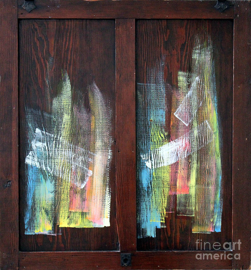 Abstract Painting Sculpture - Log Fire Cabinet Door by Asha Carolyn Young