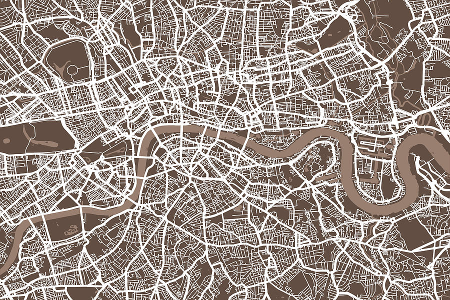 london digital art london england street map by michael tompsett