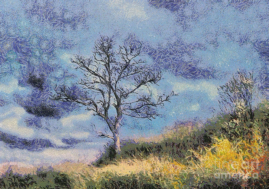 Background Painting - Lonely Tree by Odon Czintos