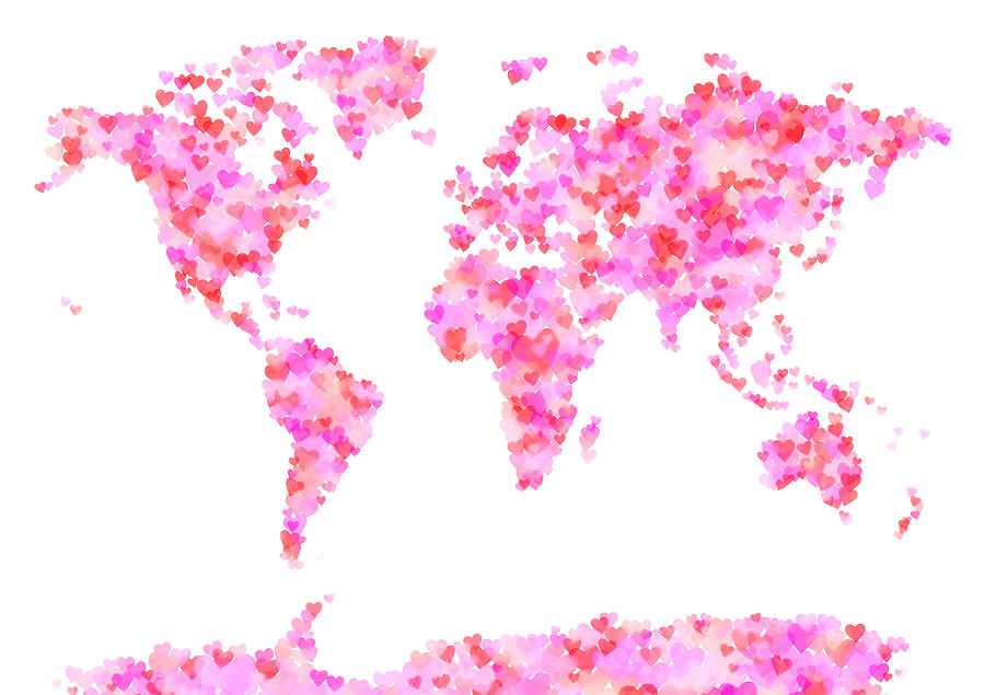 Love Hearts Map Of The World Map Digital Art by Michael Tompsett