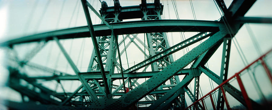 Color Image Photograph - Low Angle View Of A Suspension Bridge by Panoramic Images