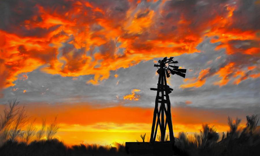 Lubbock Mixed Media - Lubbock Skyline by GCannon