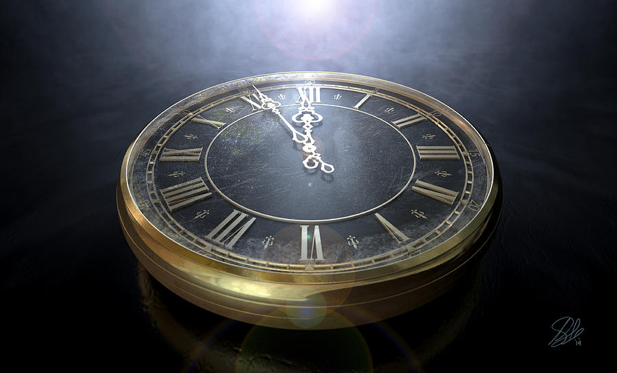 Time Piece Digital Art - Macro Antique Watch Midnight by Allan Swart