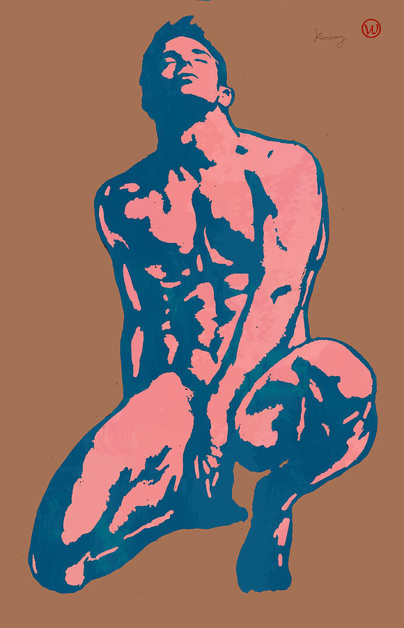 Nude Drawing - Man Nude Pop Stylised Etching Art Poster  by Kim Wang