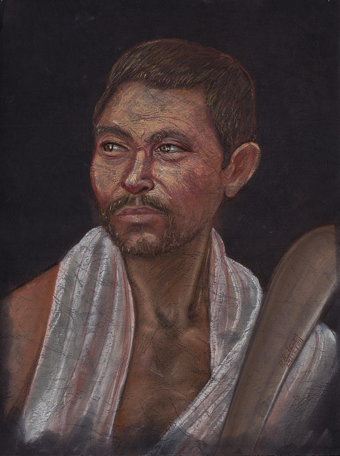 Portrait Pastel - Man Of The Kochh Mandai Tribe Agricultural by Prakash Leuva