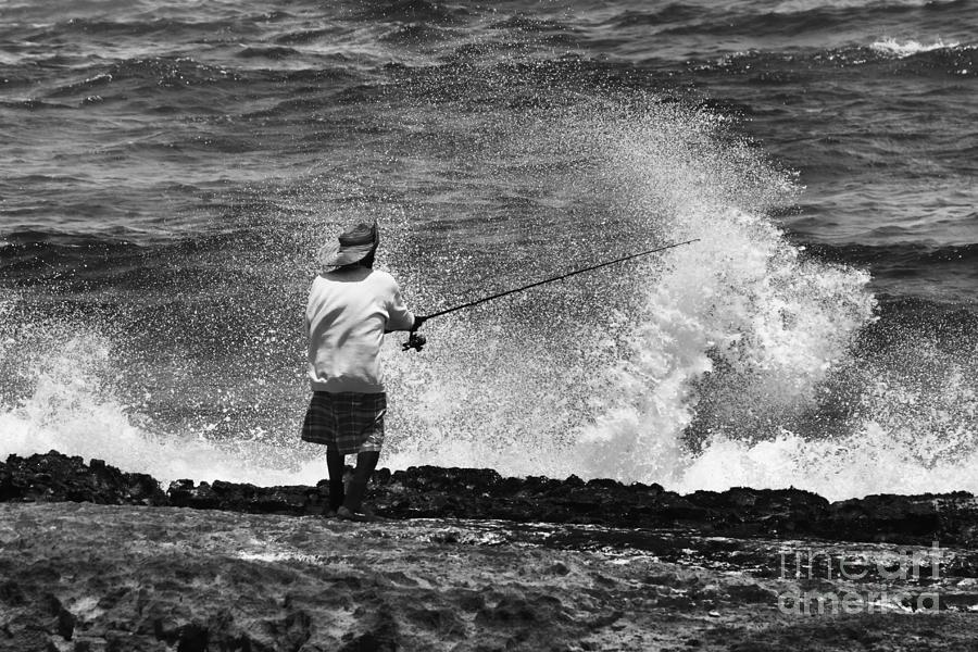 Fisherman Photograph - Man Versus The Sea by Mike  Dawson
