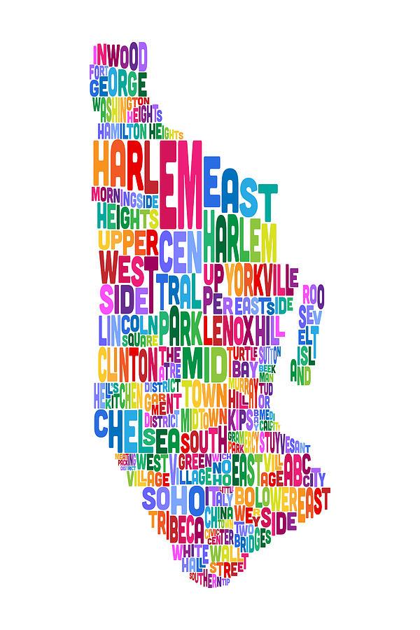Manhattan Map Digital Art - Manhattan New York Typography Text Map by Michael Tompsett