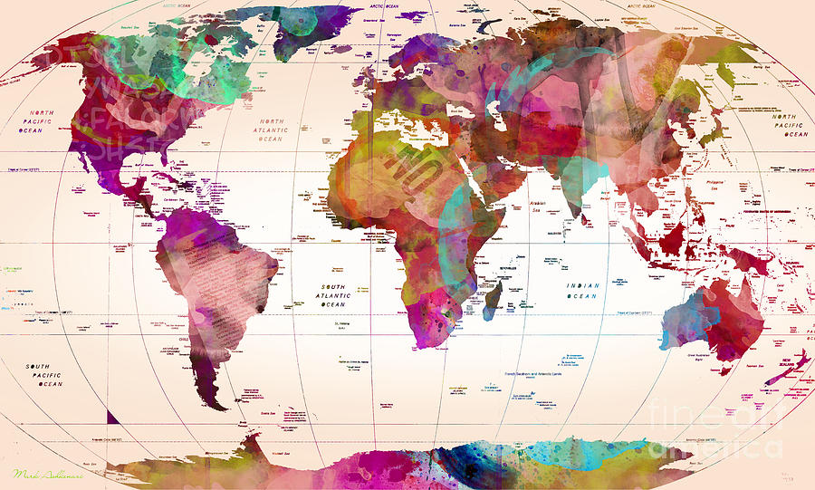 Map Of The World Painting by Mark Ashkenazi
