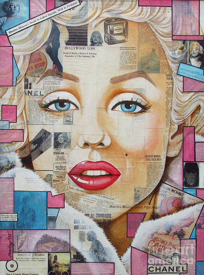 Marilyn Painting - Marilyn In Pink And Blue by Joseph Sonday
