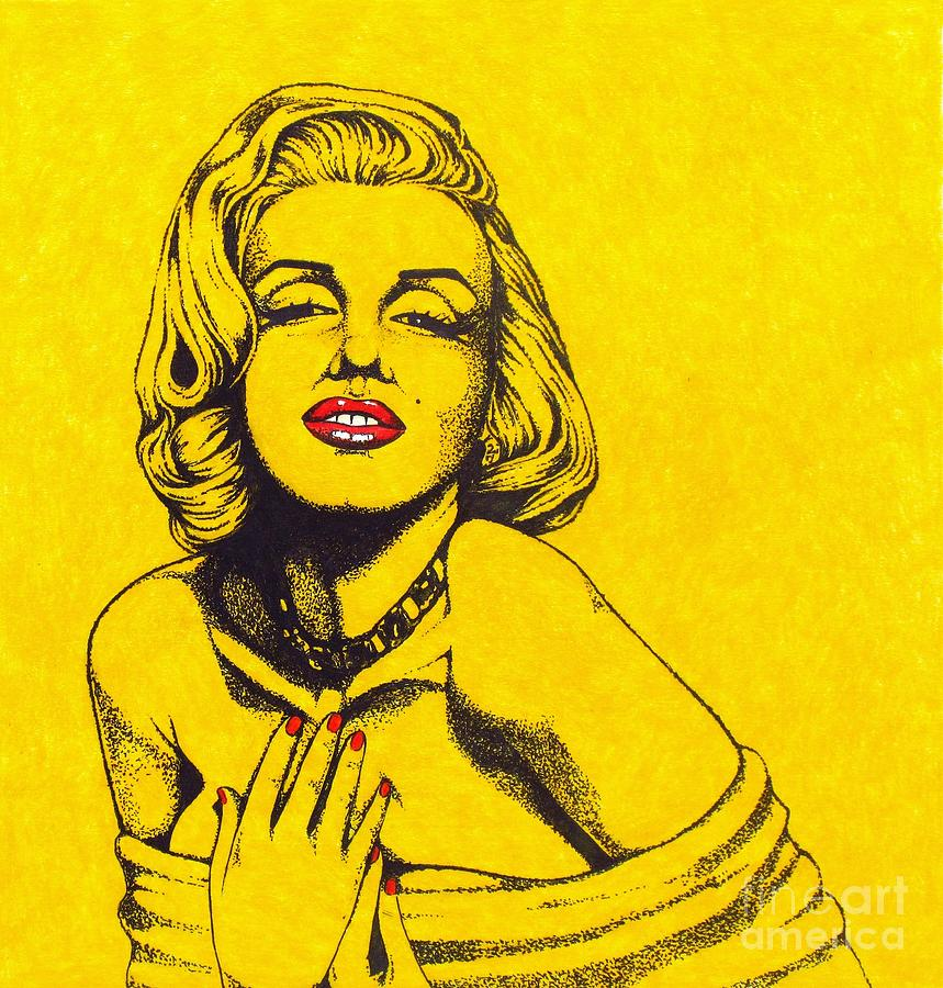 Marilyn Monroe Drawing - Marilyn In Yellow by Joseph Sonday
