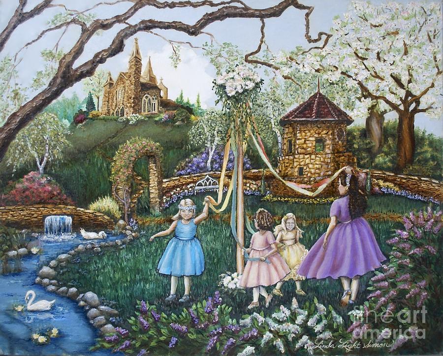 Maypole Painting - Mayday Serenade  by Linda Simon
