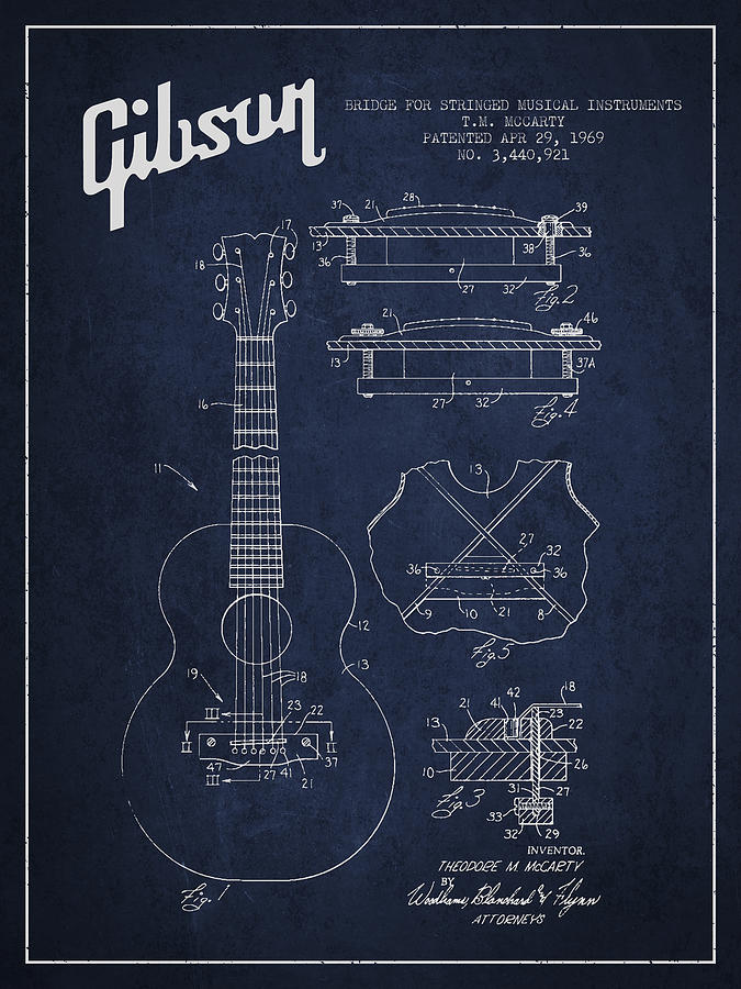 Gibson Digital Art - Mccarty Gibson Stringed Instrument Patent Drawing From 1969 - Navy Blue by Aged Pixel