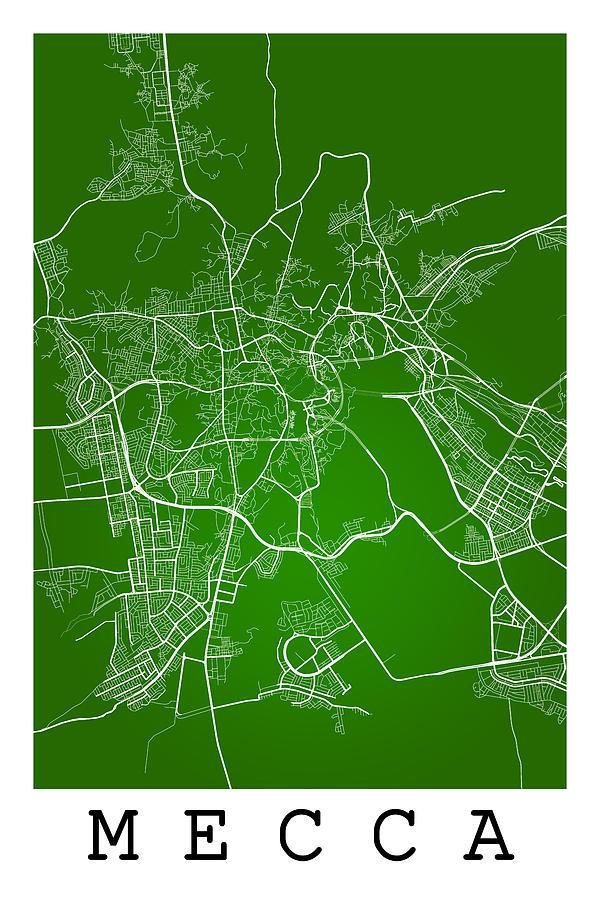 Mecca Street Map - Mecca Saudi Arabia Road Map Art On Color ...