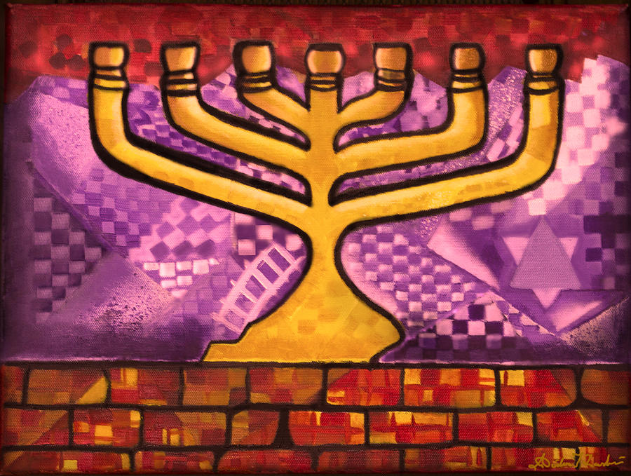 Oil Painting - Menorah by Aiden Kashi