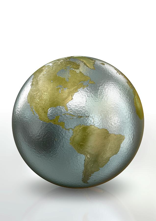 Artwork Photograph - Metallic Earth by Animated Healthcare Ltd/science Photo Library