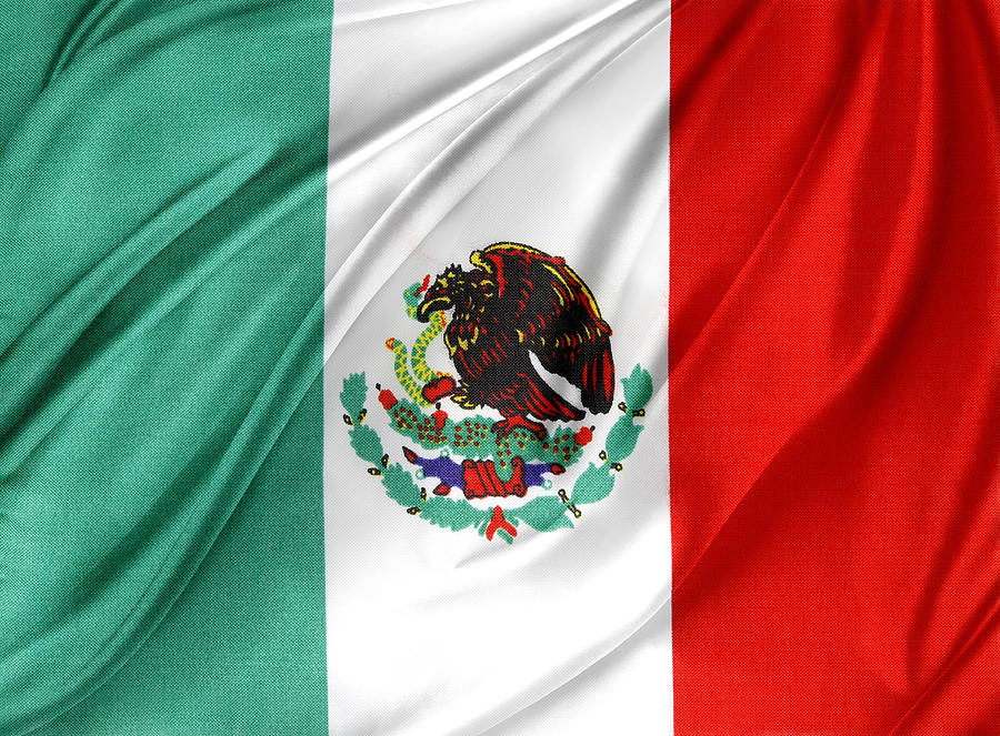 Color Photograph - Mexican Flag by Les Cunliffe