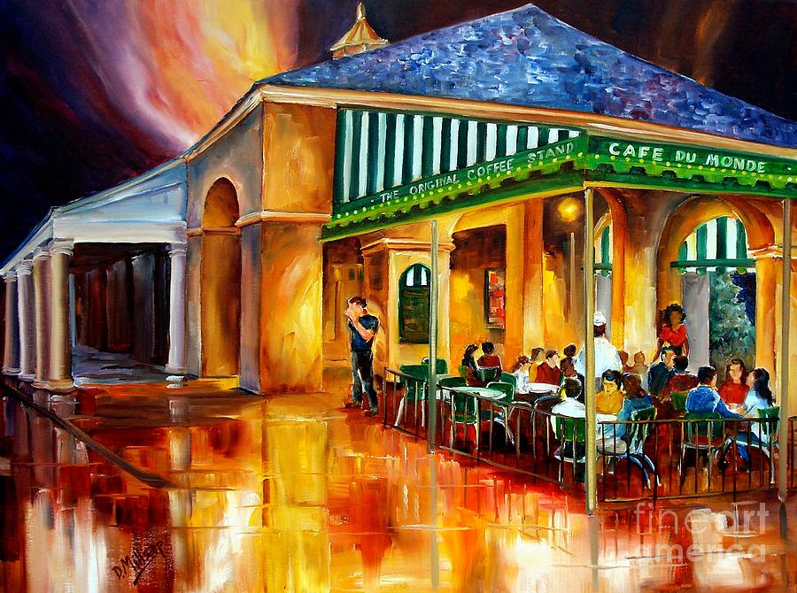 New Orleans Painting - Midnight at the Cafe Du Monde by Diane Millsap