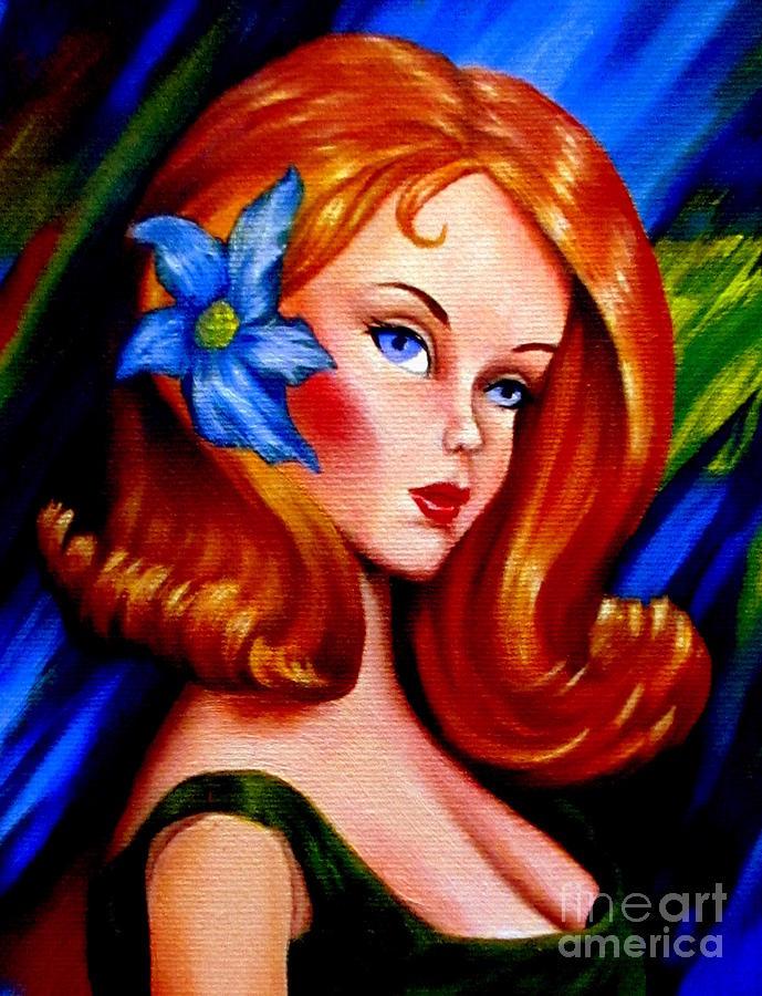 Painting Painting - Mod Barbie Redhead by Georgias Art Brush