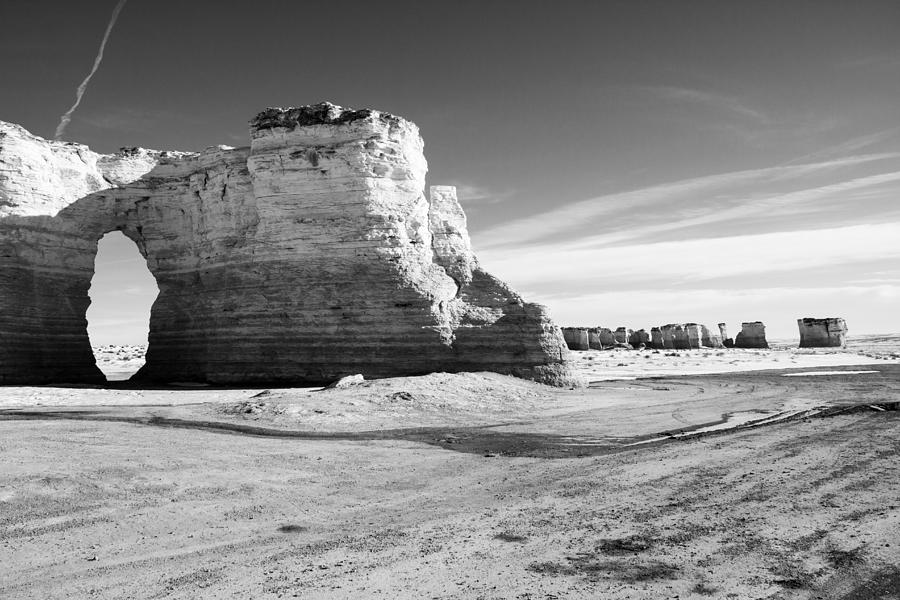 Monument Rocks Of Kansas In Black And White by Ellie Teramoto