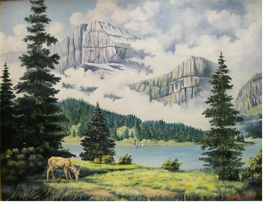 Landscape Painting - Morning at the Glacier by Wanda Dansereau