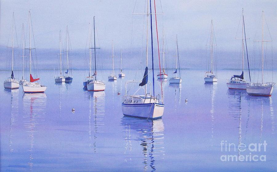 Sailboats Painting - Morning Reflections by Karol Wyckoff