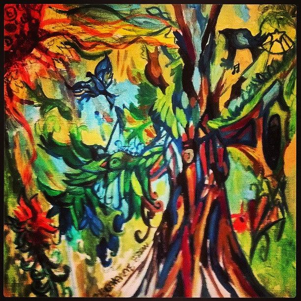 Acrylic Photograph - Music In Bird Of Tree by Genevieve Esson