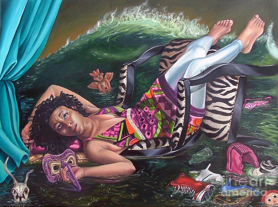 Mardi Painting - My Private Tsunami by Shelley Laffal