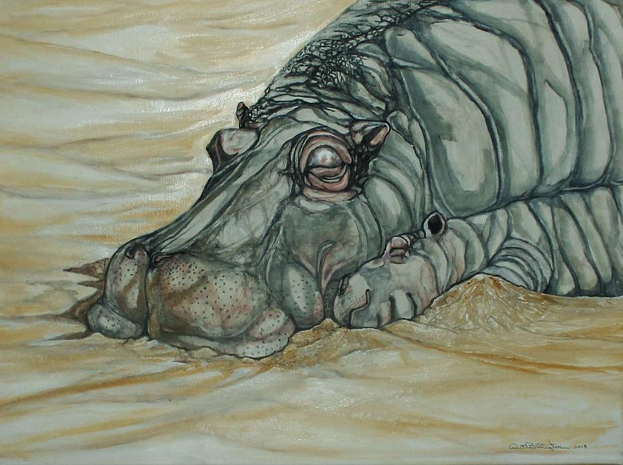 Hippo With Baby Painting - Nap Time by Anne Buffington