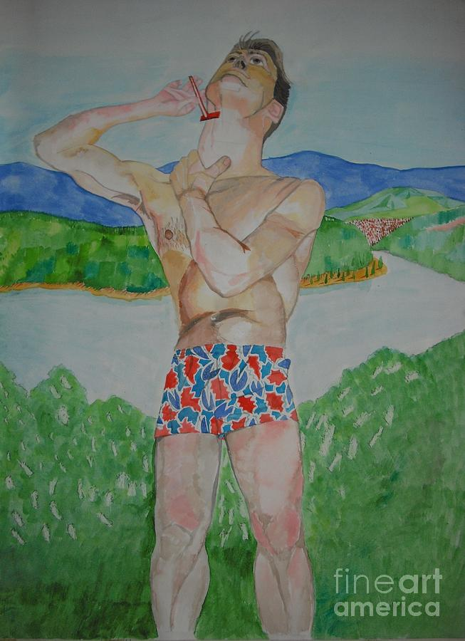 Watercolour Painting - Niall Shaving  by Michelle Deyna-Hayward