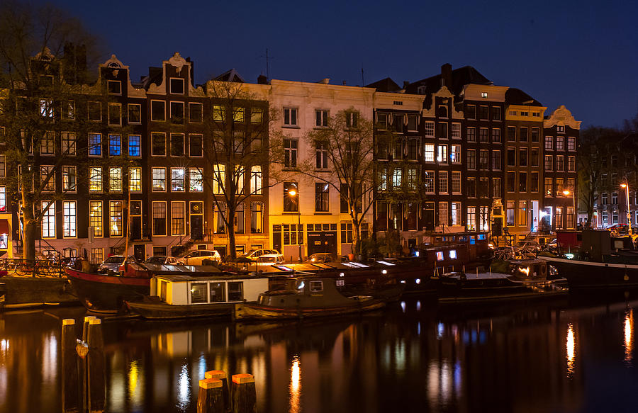 Amsterdam Photograph - Night Lights On The Amsterdam Canals 7. Holland by Jenny Rainbow