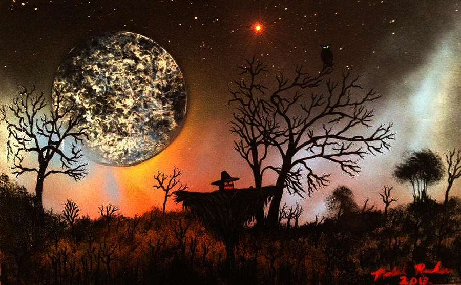Scarecrow Painting - Night Of The Scarecrow  by Michael Rucker