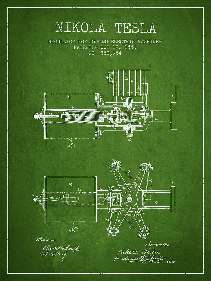 Nikola Tesla Patent Drawing From 1886 Green Digital Art