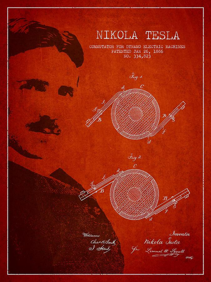 Tesla Drawing - Nikola Tesla Patent From 1886 by Aged Pixel
