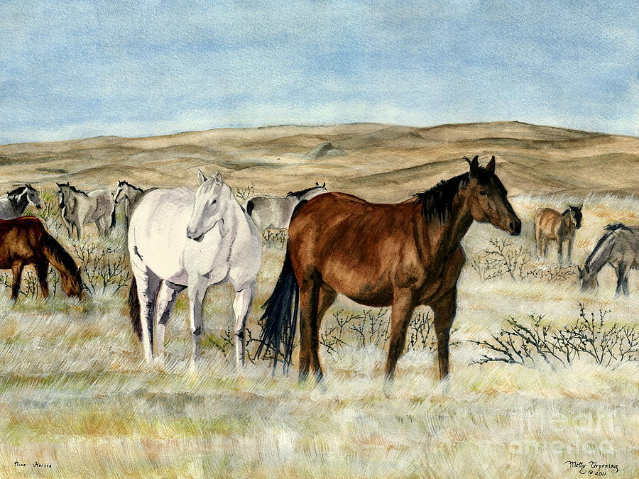 Wild Horses Painting - Nine Horses by Melly Terpening