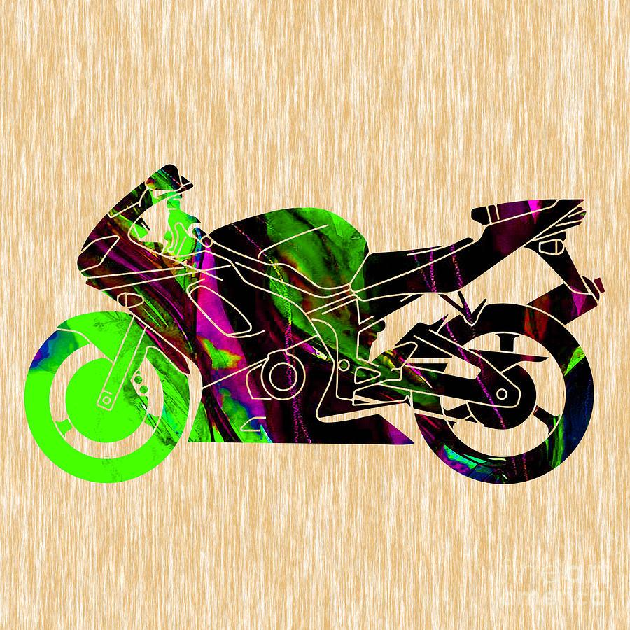 Ninja Motorcycle Art Mixed Media by Marvin Blaine